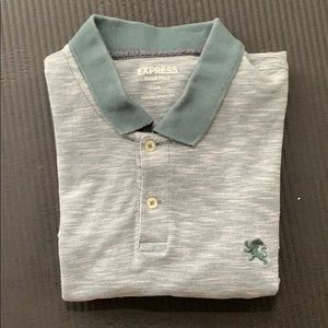 Express Pique Heathered Polo Teal Green Large